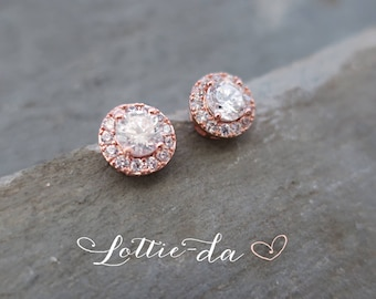 Rose Gold tone Vintage Style Button Earrings, 1950s Bridal Stud Earrings, Wedding Earrings, 1920s Button Earrings Rose Gold  - 'AUTUMN'