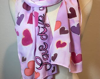 Love, Life, Hope; Breast Cancer Awareness, Valentines scarf, pink purple hearts, love scarf, multicolor hearts, valentine gift, heart scarf