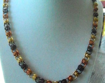 Barrel Weave necklace in Fall colors