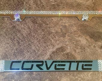 Corvette License Plate Frame made with Swarovski Crystals - Corvette Car Jewelry