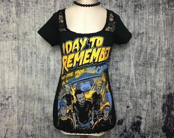 A Day To Remember Women's T-Shirt // Reconstructed T-Shirt // Size Medium // Punk Metal Music Gothic Rock Alternative Emo