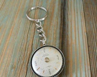 Mens Womens Steampunk Keychain Vintage Watch Dial Keyring ~ Father Present Industrial Keychain ~ Wedding Birthdays Anniversary Gift for Men