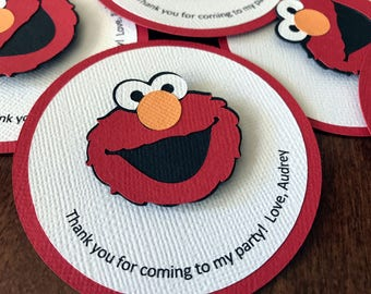 Elmo Favor Tags, Sesame Street Party, Elmo Birthday Party, Elmo Party Tags, Elmo Thank You Tags, Elmo 1st Birthday, Sesame Street, Set of 12