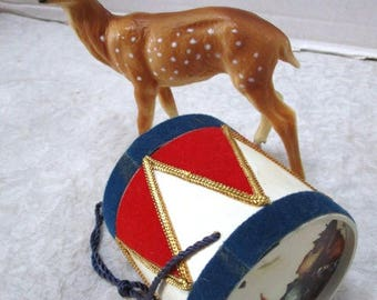Vintage Reuge Little Drummer Boy, Drum Shaped Music Box, Collectors Made in West Germany Swiss Movement, Red Blue Civil War Style