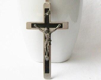 Vintage Black and Silver Crucifix, Vintage Italian Crucifix