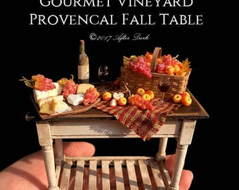 Gourmet Vineyard Provencal Grape & Apple Fall Table - Artisan fully Handmade Miniature Halloween Dollhouse Food in 12th scale.