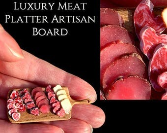 Luxury Meat Platter With Artisan Board - Artisan Handmade Miniature in 12th scale After Dark miniatures.