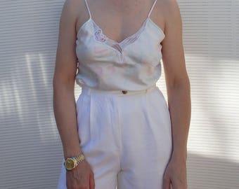 Camisole Vintage Lace Satin Pastel Floral