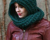 Hooded knit infinity scarf - more colors