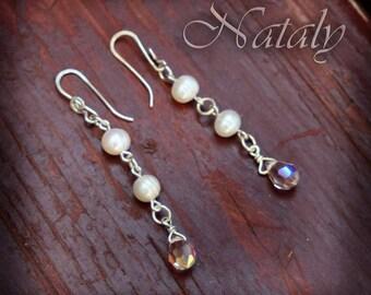 Pearl Earrings - Long Earrings - Sterling Silver Earrings - Dangle Earrings - Bridal Earrings - Dainty Earrings for Women - Crystal Earrings