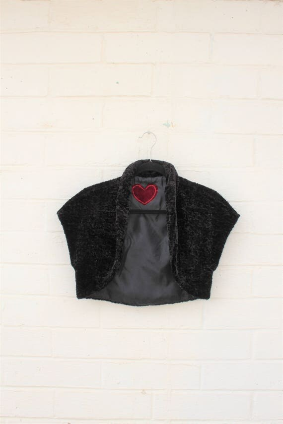 Small Black Velvet Bolero Jacket/Upcycled Desperately Seeking Susan Jacket/Cropped Jacket/80's Clothing/Velvet Jacket/Vintage Madonna Jacket