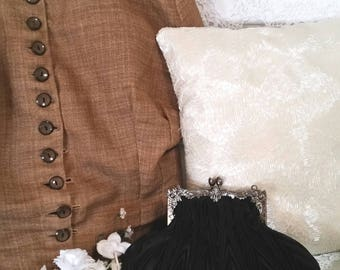 black victorian bag, 90s does victorian, black steampunk bag, victorian costume, black pleated clutch, evening clutch