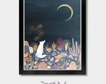 Mid Century Wall Art - A Message for the Moon. Wolf Art, Arizona, Coyote, Cactus print, Mexican Folk Art, Japanese Prints, Mexican Art, Boho