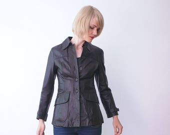 70s leather jacket. skinny leather jacket. boho hippie dark brown leather jacket - xs