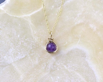 Amethyst and Gold Necklace, February Birthstone Pendant, Amethyst Necklace, Gold filled, Faceted Amethyst Gemstone, Birthday Gift for Her