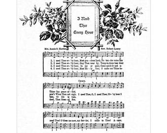 I NEED THEE Every Hour Hymn Wall Art Christian Home & Office Decor Wall Art Sheet Music Wall Art Vintage Verses Inspirational Wall Art Sale