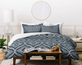 Blue Geometric Duvet Cover // Bedding // Twin, Queen, King Sizes Available // Home Decor // Geometric // Trevino Dusk Design // Bedroom