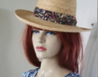 1960s Style Vintage Mens Dorfman Pacific Raffia Natural Straw Boater Hat Unisex Very Sharp