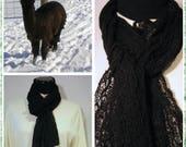 Black Suri Alpaca Scarf, Lace Knit Scarf, Handmade Suri Alpaca Scarf, Miracle Scarf