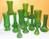 15 Vintage Green Glass Coordinating Vases
