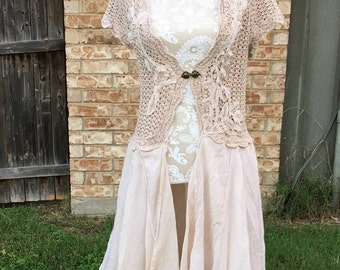 Altered Women's Tan Knitted Top, Shrug,Battenburg Trim, Wide Cotton Skirt, Mori-Girl Style, Medium, Shabby Chic, BoHo Top, Tunic, Cotton