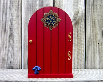 Red Fairy Door, Painted Wood, Indoor Fairy Door, Fairies, Role Play, Magic Portal, Pretend Play, Miniature Door, Childs Gift, Decorated Door