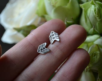 Arrow Vane Silver Chevron Stud Earrings