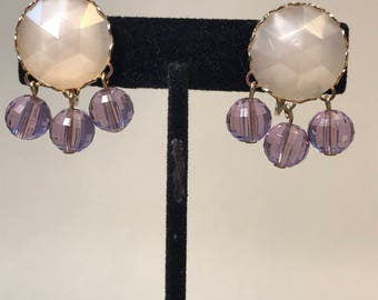 Pretty PURPLE and Opaque White Dangly CLUSTER Earrings / Cute
