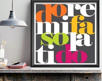 DoReMiFaSoLaTiDo, music wall art, music gift, music decor, solfège syllables, music room art, typography art, colorful art, square wall art