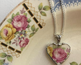 Broken china jewelry - beautiful heart pendant - broken china jewelry necklace - antique pink cabbage rose, porcelain