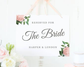 Bride and Groom Sign, Reserved Signs, Bride Sign, Groom Sign, Reserved for Bride, Reserved, Vintage Botanical, SUITE028