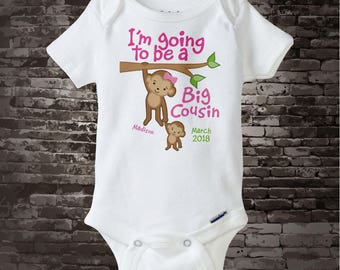 Big Cousin Shirt or Onesie - Personalized Big Cousin Monkey Shirt - with Due Date and name - I'm Going to Be A Big Cousin Bodysuit 07212017a