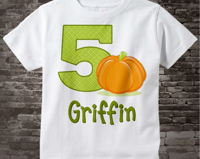 Personalized Fifth Birthday Pumpkin Tee Shirt, 5th Birthday Halloween Theme T-Shirt, Any Age 09082016a