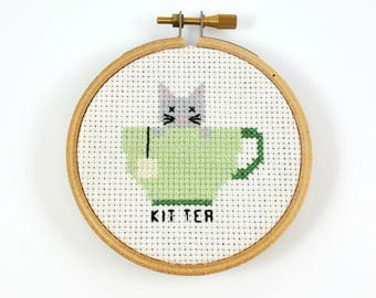 Kit Tea Cross Stitch pattern, tea cross stitch, tea cup cross stitch, counted cross stitch, tea pdf pattern, funny cat cross stitch