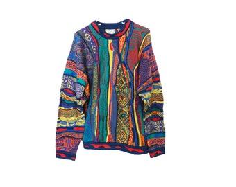 Coogi Sweater Authentic ORIGINAL Coogi of Australia Vintage Biggie's Sweater Mens Medium Bright Colors