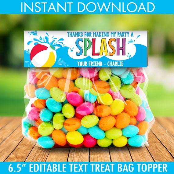 Pool Party Treat Bag Topper Thank You Tags Birthday Party