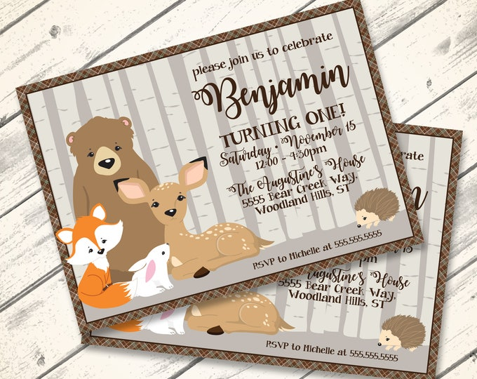 Woodland Birthday Invitation, Forest Friends, Woodland Animals, Bear, Fox, Deer | Editable Text - Lndscp DIY Instant Download PDF Printable