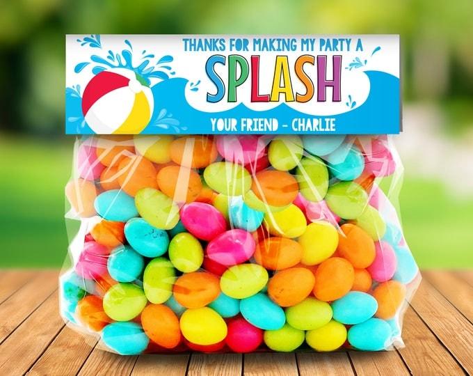 Pool Party Treat Bag Topper - Thank You Tags, Birthday Party Favors, Splish Splash | DIY Editable Text Instant Download PDF Printable