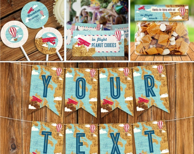 Airplane, Hot Air Balloon, Aviator Birthday Party Set, Party Decor | Editable Text - DIY Instant Download PDF Printable