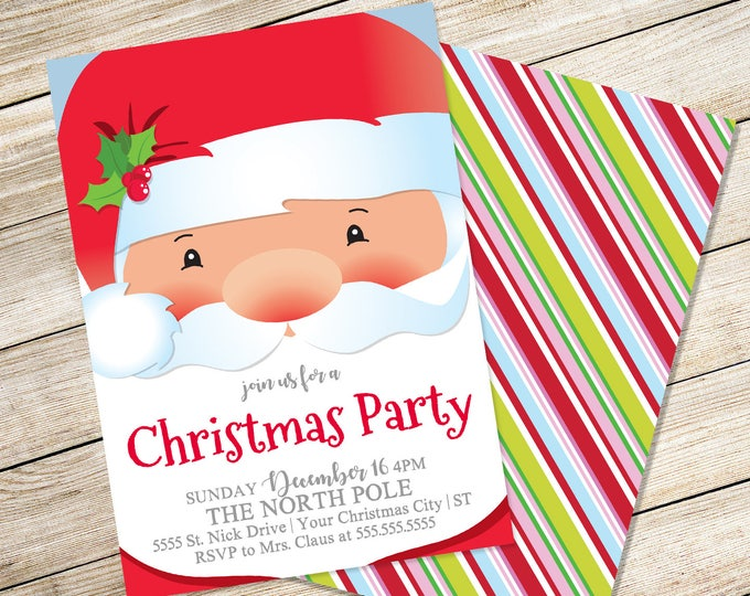 Santa Invitation, Breakfast with Santa, Santa & Pancakes, Santa Party, Christmas Party | Editable Text, Instant Download PDF Printable