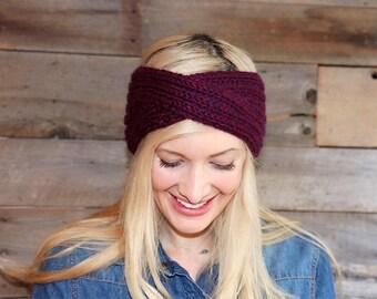 Knit Headband- Winter Headband- Ear Warmer- Knitted Headband- Ear Warmer Headband- Red Headband- Turban- Gifts For Her- Hand Knit Head Band