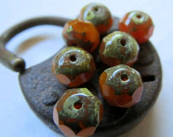 NEW BUTTERNUT . Czech Picasso Glass Beads (10 beads) 6 by 9 mm