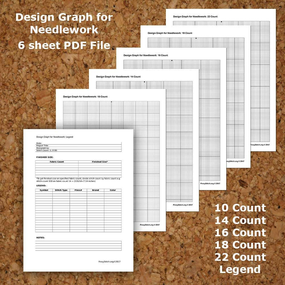cross stitch graph paper needlework grid template pdf instant