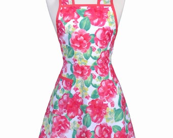 Womens Vintage Apron with Pocket in Pink Jade Floral Retro 50s Kitchen Gift for Her with Personalized Monogram Option (DP)
