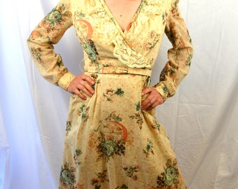 Vintage 1970s Hippie Summer Floral Maxi Dress - This is Yours - San Francisco