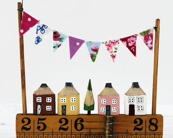 Miniature Street, Pencil Street, Ruler Street, Mini Bunting, Landscape Art, Diorama, Housewarming Gift, House Sculpture, One of a Kind Gift