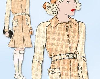 1930s Vintage Womans World Sewing Pattern 5902 Uncut Girls Coat Dress Size 9