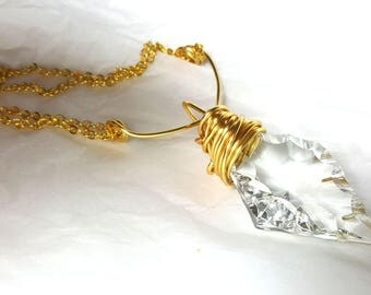 Long Crystal Diamond shaped Necklace - double strand Gold necklace- large crystal pendant-  Extra long - Upcycled chandelier prism pendant
