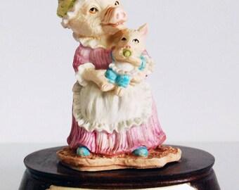 Heather Trotter by Leonardo Collectible Figurine, Collectible Pig Figurine, Mother n Baby Pig Home Decor, Little Nook Village Pig Knickknack