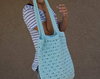 Crochet tote bag shoulder bag 100% cotton avoska handmade bag beach farmers market boho bohemian pale blue reusable summer tote reversible